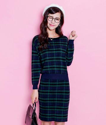 拉夏贝尔套头针织衫 2015冬新款休闲圆领直身裙套装女 拉贝缇 墨绿色 M